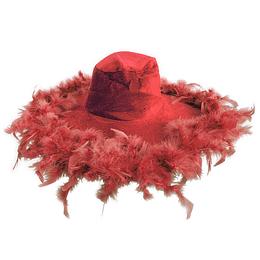 Sombrero Ala Piel Rojo 1 Uni