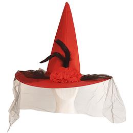 Sombrero Bruja Rojo Con Plumas Y Tul 1 Uni