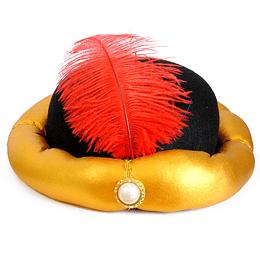 Gorro Sultan Negro Pluma Roja 1 Uni