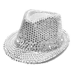 Sombrero Michael Con Luz Lentejuelas Plata 1 Uni