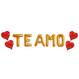 """Globo Letras Doradas """"Te Amo"""" 1 Uni"""