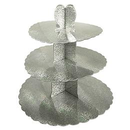 Bandeja 3 Niveles Metalizado Plateado 1 Uni