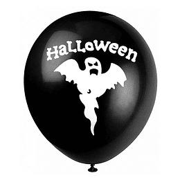 Globo #12 Liso Negro Impreso Fantasma 6 Uni