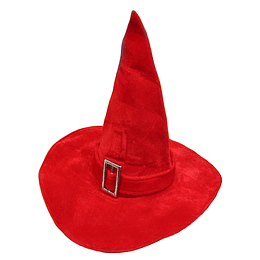 Sombrero Bruja Rojo Plush Con Hebilla 1 Uni