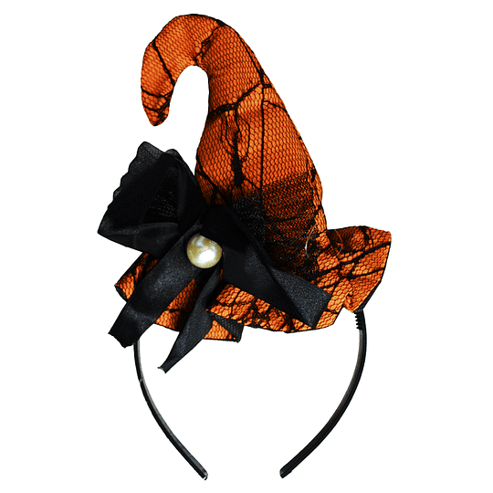 Cintillo Mini Sombrero Bruja Naranjo Perla 1 Uni
