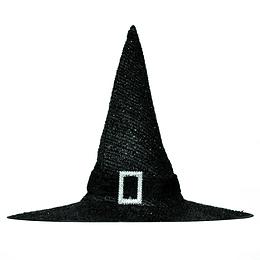 Sombrero Bruja Negro Gliitter Con Hebilla 1 Uni