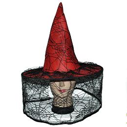 Sombrero Bruja Rojo Con Tul 1 Uni