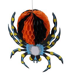 Deco Araña Papel Azul Amarillo Naranjo Negro 1 Uni