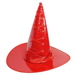 Sombrero Bruja Cuerina Con Amarras Rojo 1 Uni