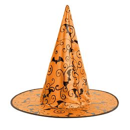 Sombrero Bruja Naranjo Impreso Murcielagos 1 Uni