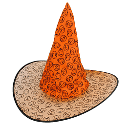 Sombrero Bruja Naranja Con Tejido Impreso 1 Uni