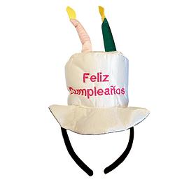 Cintillo Feliz Cumpleaños Con Velas Blanco 1 Uni