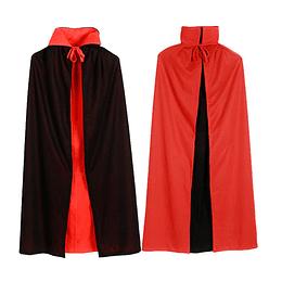Capa Negra Roja Vampiro Mediana 1 Uni