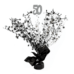 Centro De Mesa Spray Plata/Negro 50 Años 1 Uni