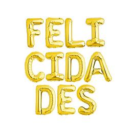 Globo Letras Doradas Felicidades 1 Uni
