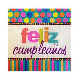 Servilleta Puntos Y Rayas Feliz Cumpleaños 20 Uni
