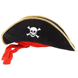 Sombrero Pirata Terciopelo Con Cinta Roja 1 Uni