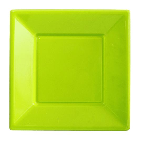 Plato Cuadrado Verde Lima 10 Uni