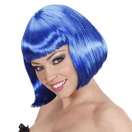 Peluca Melena Azul Con Chasquilla 1 Uni