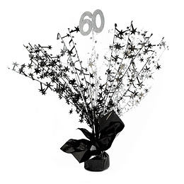 Centro De Mesa Spray Plata/Negro 60 Años 1 Uni
