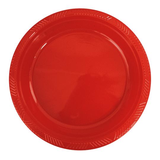 Plato Plastico 23 Cm Rojo 10 Uni