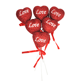 DECORACION STICK CORAZON LOVE 6 UNI