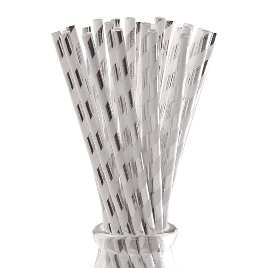 Bombilla Papel Rayas Plateadas Metalizadas 12 Uni