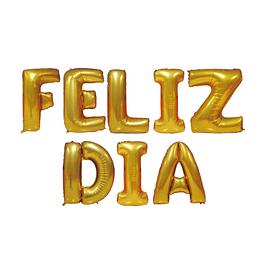 """Globo Letras 40Cm Doradas """"Feliz Dia"""" 1 Uni"""