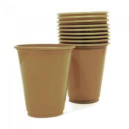 Vaso Plastico 230Cc Dorado 10 Uni