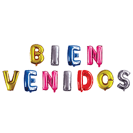 """Globo Letras 40Cm Colores """"Bienvenidos"""" 1 Uni"""