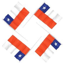 Bandera Chile Con Varilla Blanca 6 Uni