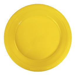 Plato Plastico 23 Cm Amarillo 10 Uni