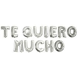 """Globo Letras 40Cm Plateadas """"Te Quiero Mucho"""" 1 Uni"""