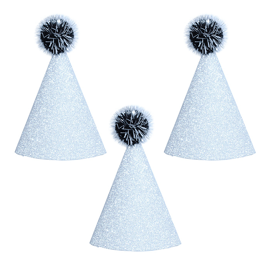 Gorritos Glitter Plateados 6 Uni
