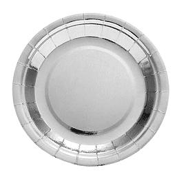 Plato 18Cm Metal Effect Plateado 6 Uni