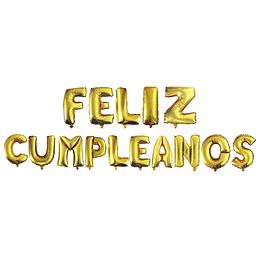 """Globo Letras Doradas """"Feliz Cumpleaños"""" 1 Uni"""