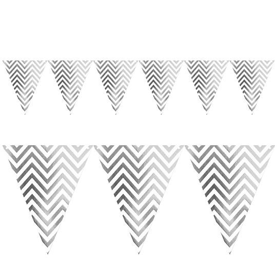 Guirnalda Banderines Zigzag Plateados Met 1 Uni