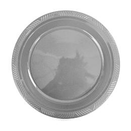 Plato Plastico 18 Cm Plateado 10 Uni