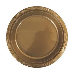 Plato Plastico 18 Cm Dorado 10 Uni