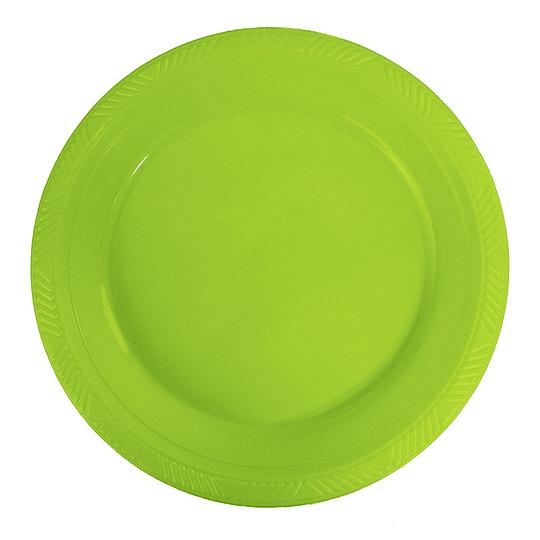 Plato Plastico 23 Cm Verde Lima 10 Uni