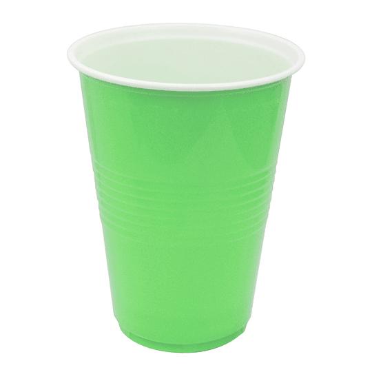 Vaso Plastico 480Ml Verde Lima Blanco 20 Uni
