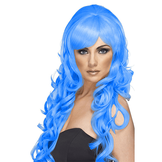 Peluca Larga Azul Ondulada 1 Uni
