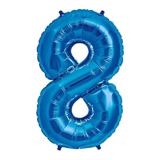 Globo 81Cm Numero 8 Azul 1 Uni