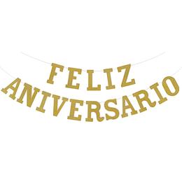 """Guirnalda """"Feliz Aniversario"""" Dorado Glitter 1 Uni"""