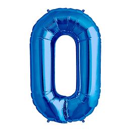 Globo 81Cm Numero 0 Azul 1 Uni