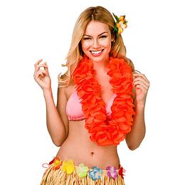 Collar Hawaiano Flor Naranja Neon 1 Uni
