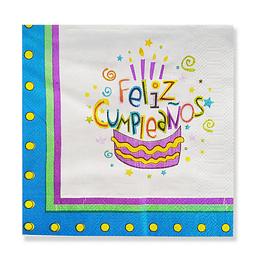 Servilleta Torta Feliz Cumple Bco/Azul 20 Uni