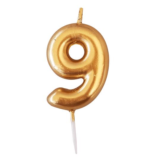 Vela Numero Dorada #9 1 Uni