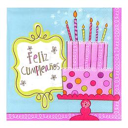 Servilleta Torta Feliz Cumpleaños 20 Uni