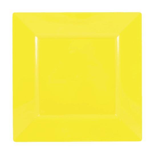 Plato Cuadrado Amarillo 10 Uni